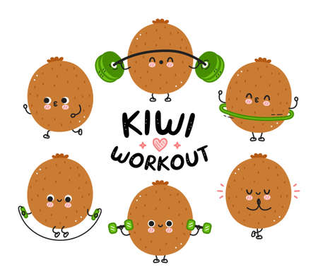 Cute funny kiwi make gym set collection. Vector flat line cartoon kawaii character illustration icon. Isolated on white background. Kiwi fruit workout character bundle concept