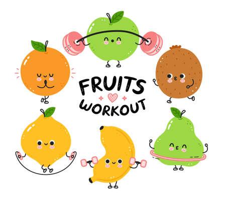 Cute funny fruits make gym set collection. Vector flat line cartoon kawaii character illustration icon. Isolated on white background. Pear,lemon,orange,apple,kiwi,banana workout character bundle Ilustrace