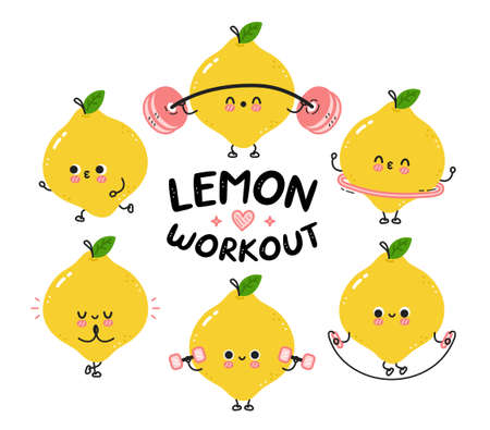 Cute funny lemon make gym set collection. Vector flat line cartoon kawaii character illustration icon. Isolated on white background. Lemon workout character bundle concept