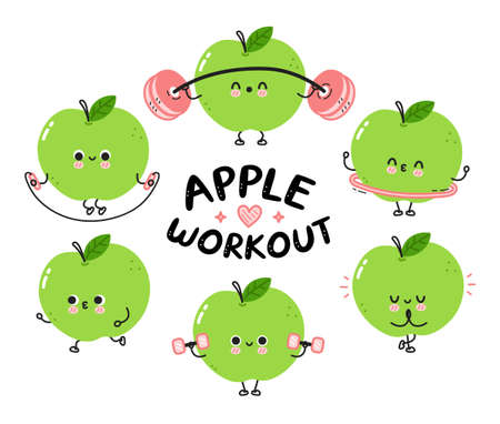 Cute funny apple make gym set collection. Vector flat line cartoon kawaii character illustration icon. Isolated on white background. Apple fruit workout character bundle concept Ilustrace