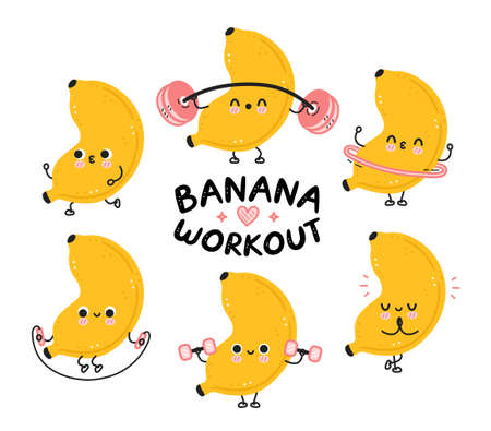 Cute funny banana make gym set collection. Vector flat cartoon kawaii character illustration icon. Isolated on white background. Banana fruit workout character bundle concept