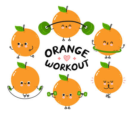 Cute funny orange make gym set collection. Vector flat line cartoon kawaii character illustration icon. Isolated on white background. Orange fruit workout character bundle concept