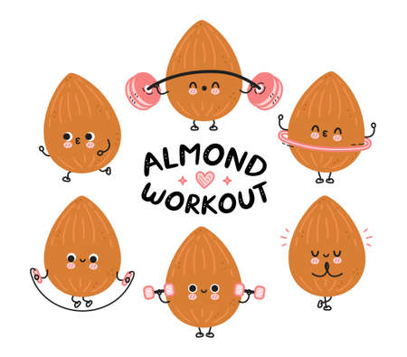 Cute funny almond make gym set collection. Vector flat line cartoon kawaii character illustration icon. Isolated on white background. Almond workout character bundle concept