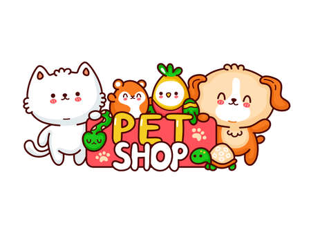 Pet Shop logo design. Cute funny dog,cat,hamster,perrot,snake,turtle. Vector flat line cartoon kawaii character illustration icon. Isolated on white background. Pet shop characters concept Ilustrace