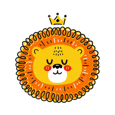 Cute funny lion with crown. Vector scandinavian style cartoon character illustration. Isolated on white background. Lion king character print for children t-shirt,poster concept
