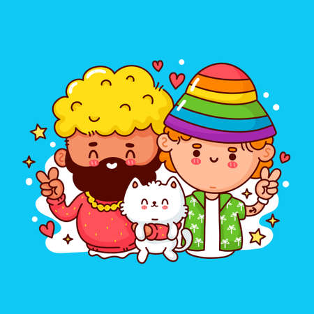 Cute funny happy young gay couple. Vector flat line cartoon kawaii character illustration icon. Isolated on white background. Lgbt, gay mans family concept