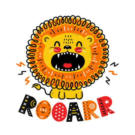 Cute funny lion. Roar quote. Vector scandinavian style cartoon character illustration icon. Isolated on white background. Lion roar character print for children t-shirt,card,poster concept