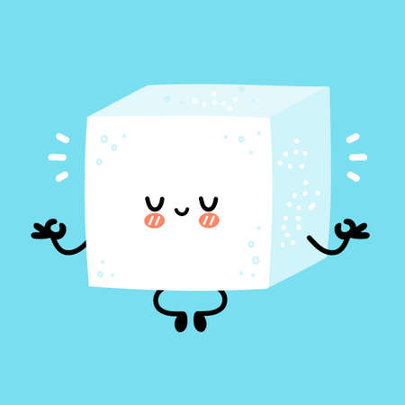 Cute funny happy sugar piece cube character meditate in yoga pose. Vector flat line cartoon kawaii character illustration icon. Isolated on white background. Sugar cube character concept