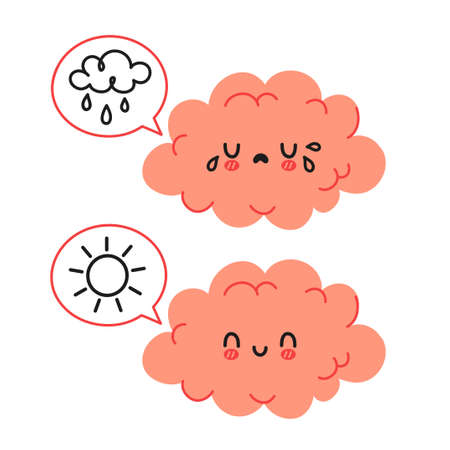 Cute funny brain character and speech bubble with sun and rain cloud. Vector cartoon kawaii character illustration icon. Isolated on white background. Brain sad and happy mood character concept Ilustração Vetorial