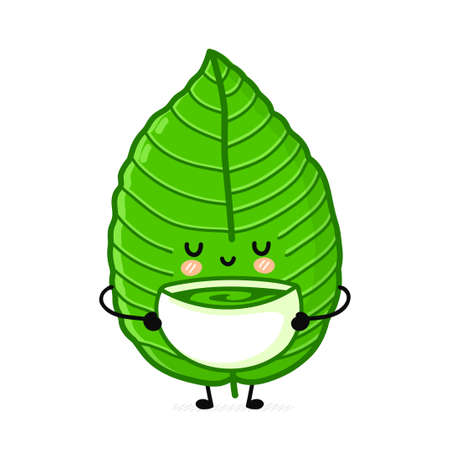 Cute funny kratom leaf drink tea from bowl character. Vector flat line cartoon kawaii character illustration icon. Isolated on white background. Kratom leaf character bundle concept