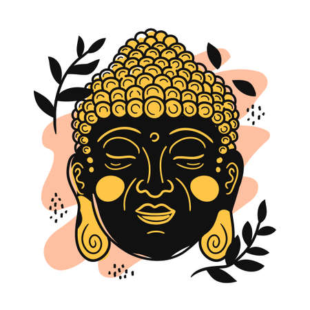Buddha portrait in scandinavian style. Vector cartoon character illustration icon. Isolated on white background. Buddha face character nursery print for poster,card,t-shirt