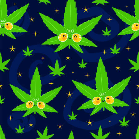 Cute funny happy weed marijuana leafs and stars in space seamless pattern. Vector kawaii cartoon illustration icon design. Cute weed marijuana seamless pattern concept