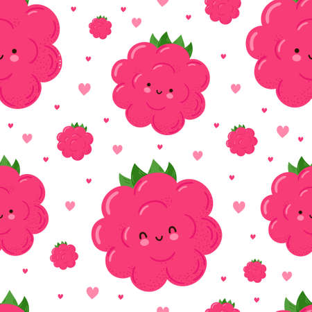 Cute funny happy raspberries and hearts seamless pattern. Vector kawaii cartoon illustration icon design. Isolated on white background Cute raspberries seamless pattern concept