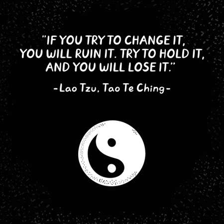 Lao Tzu quote and Yin Yang symbol. Vector hand drawn style illustration icon design