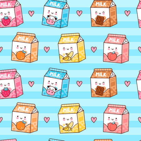Cute funny happy flavored milk box and hearts seamless pattern. Vector kawaii cartoon illustration icon design. Cute milk with different flavors seamless pattern concept