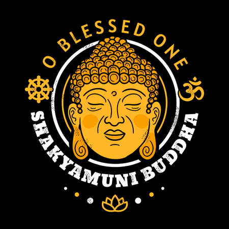 Buddha gold head. O Blessed One Shakyamuni Buddha quote. Vector cartoon illustration. Buddhism symbol vintage print for poster, t-shirt concept 矢量图像