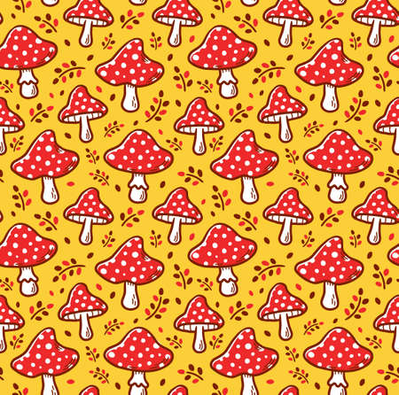 Amanita mushroom seamless pattern. Vector cartoon illustration icon design. Amanita mushroom seamless pattern concept