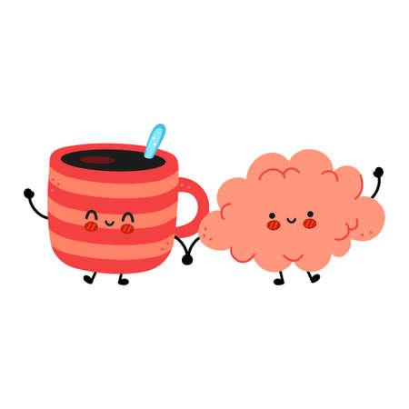 Cute funny coffee mug and brain. Vector hand drawn cartoon kawaii character illustration icon. Isolated on white background. Coffee or tea cup, mug, brain organ character concept