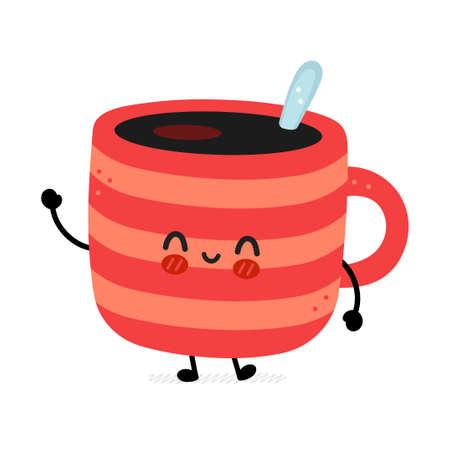 Cute funny coffee mug mascot. Vector hand drawn cartoon kawaii character illustration icon. Isolated on white background.