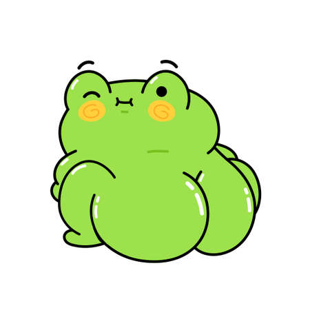 Cute funny frog with big buttock. Vector hand drawn cartoon kawaii character illustration sticker set. Funny cartoon toad frog mascot character print for t-shirt, poster, card concept Vectores