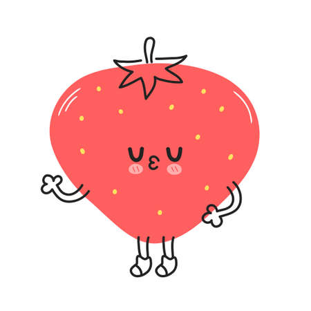 Cute funny strawberry berry. Vector hand drawn cartoon kawaii doodle character illustration icon. Strawberry berry fruit baby mascot cartoon character concept. Isolated on white background