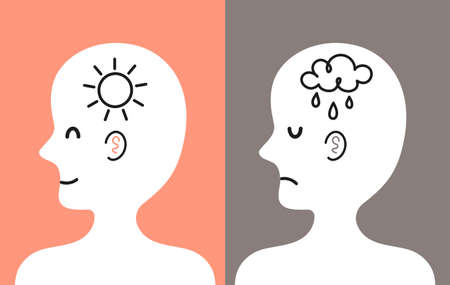Cute human head in profile with sun and rain cloud inside. Good and bad mood, mental, emotional condition concept. Vector cartoon character illustration icon. Bipolar disorder, depression concept Vectores