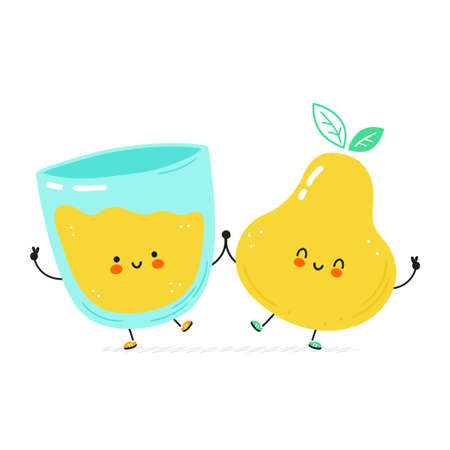 Cute happy pear and juice glass. Isolated on white background. Vector cartoon character hand drawn style illustration. Pear juice cartoon character concept