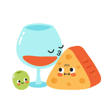 Cute funny wine glass kiss cheese. Vector hand drawn cartoon kawaii character illustration icon. Isolated on white background. Red wine, cheese and olive cartoon character concept Vectores
