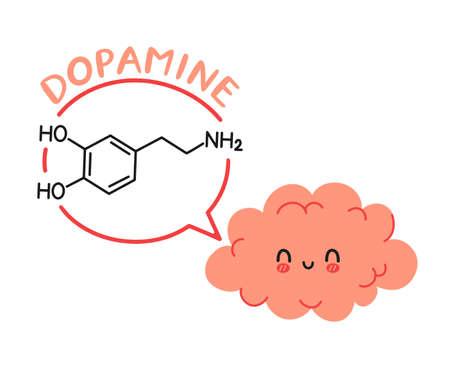 Cute funny human brain organ character and dopamine formula in speech bubble. Vector hand drawn cartoon kawaii character illustration icon. Brain chemistry, dodamine cartoon character concept