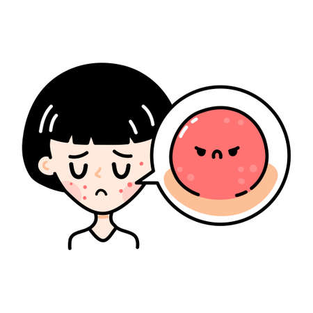Cute sad teenage girl with angry scary acne. Vector hand drawn cartoon kawaii character illustration icon. Isolated on white background. Girl woman with acne problem on skin doodle character concept