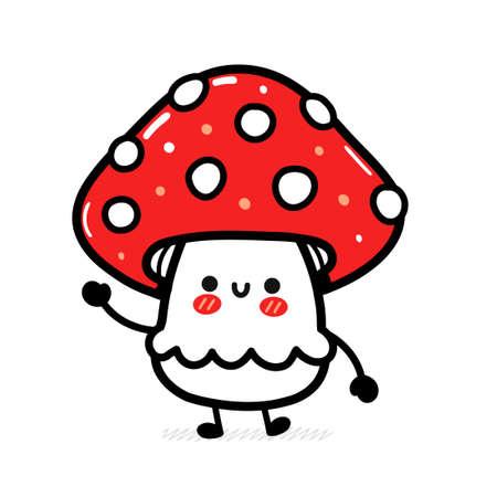 Cute funny happy amanita mushroom. Vector hand drawn cartoon kawaii character illustration icon. Isolated on white background. Funny amanita mushroom mascot character concept