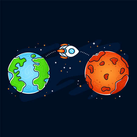 Mars and Earth planet. Rocket, space ship flying mission. Vector hand drawn cartoon illustration icon. Space exploration, Mars and Earth planet concept Vector Illustration