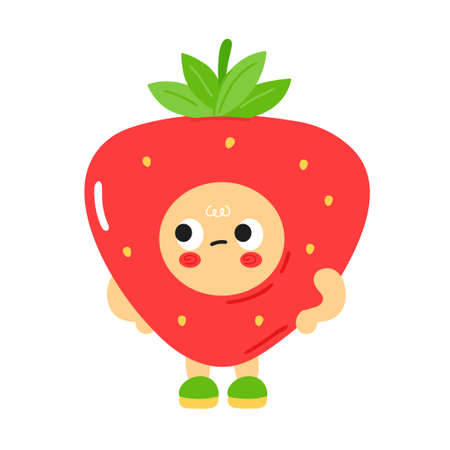 Cute funny sad bored strawberry with baby face. Vector cartoon kawaii character illustration kids emoji icon. Isolated on white background. Strawberry child poster, card cartoon character concept