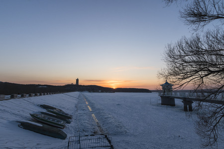 winter sunrise: Sunrise lake in winter Stock Photo