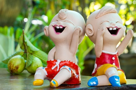 Painted clay dolls. photo