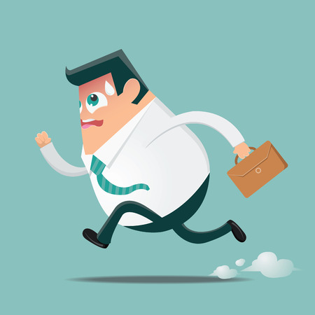hurrying: Running businessman in hurry