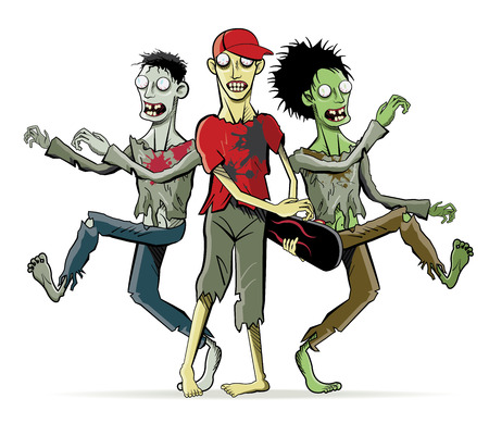 ghoulish: Cartoon zombie characters