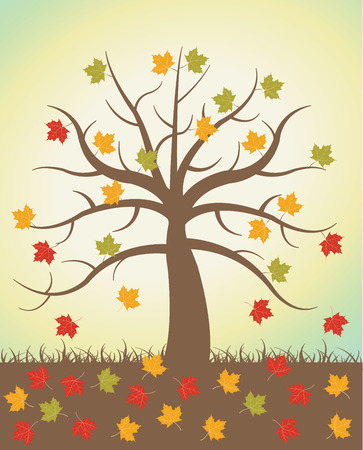 autumn trees: Autumnal trees with falling maple autumn leaves Illustration