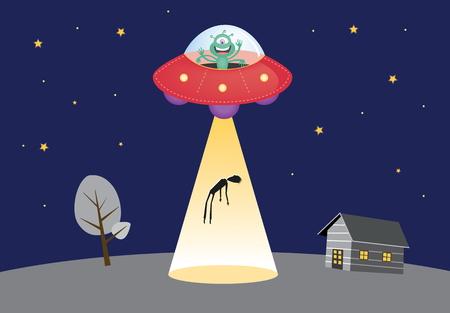 luz focal: UFO secuestra silueta humana en la luz del punto  ilustraci�n vectorial Vectores