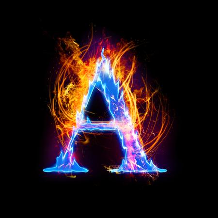 Vuur en ijs tekst, hoofdletter, alfabet-A