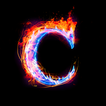 Fire and ice text,capital letter,alphabet-C Stock Photo