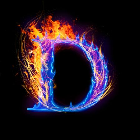 Vuur en ijs tekst, hoofdletter, alfabet-D Stockfoto - 32730846