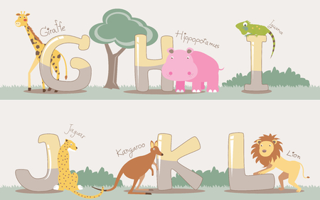 Vector alphabet set from G to L with cute animals Vector