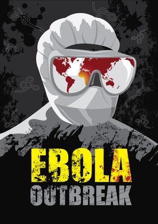 viral disease: EBOLA Outbreak-Showing the world map where the virus began to spread