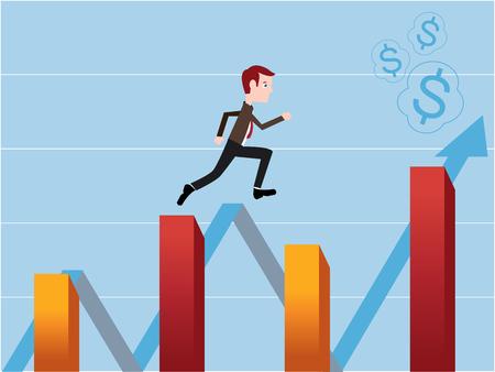 stock trader: Stock trader running on the financial stock bar charts Illustration