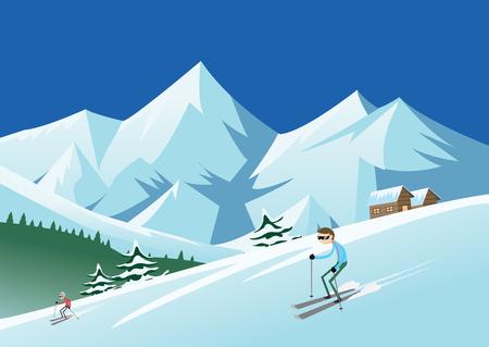skiing: Skiing at ski resort-skiers sliding from the mountain