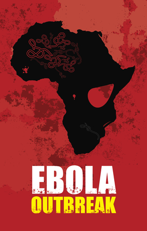 outbreak: Ebola outbreak and Africa map which looks like a skull