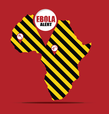 deadly danger sign: EBOLA alert sign and Africa map