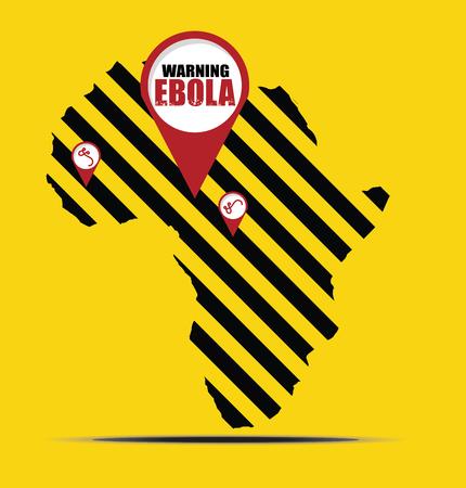viral disease: Warning EBOLA sign and Africa map