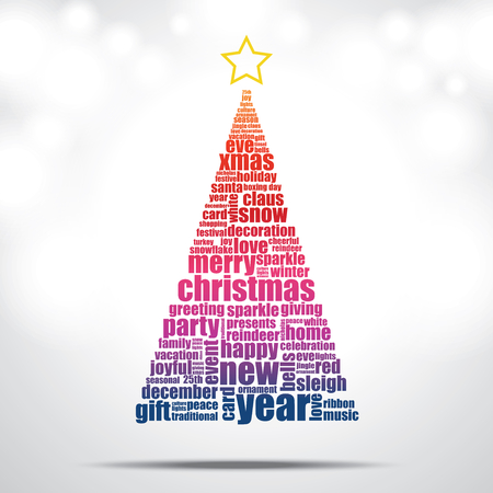 Christmas tree filled by Christmas and happy new year word cloud Illustration